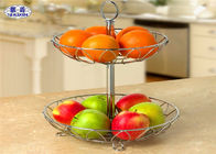 2 Tier Wire Mesh Fruit Basket Stable Corrosion Resistant Vegetable Storage
